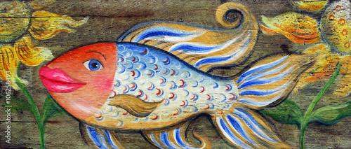 Fotografering  Tropical Fish Folk Art Painting