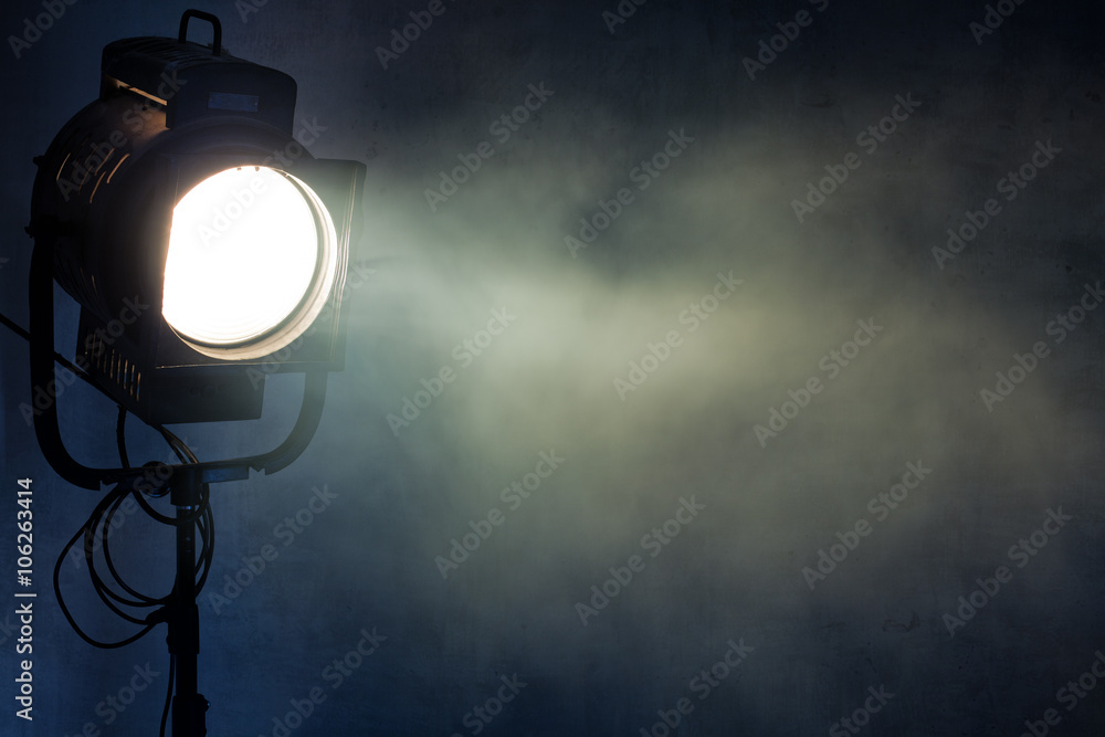 Fototapety, obrazy: theater spot light with smoke against grunge wall