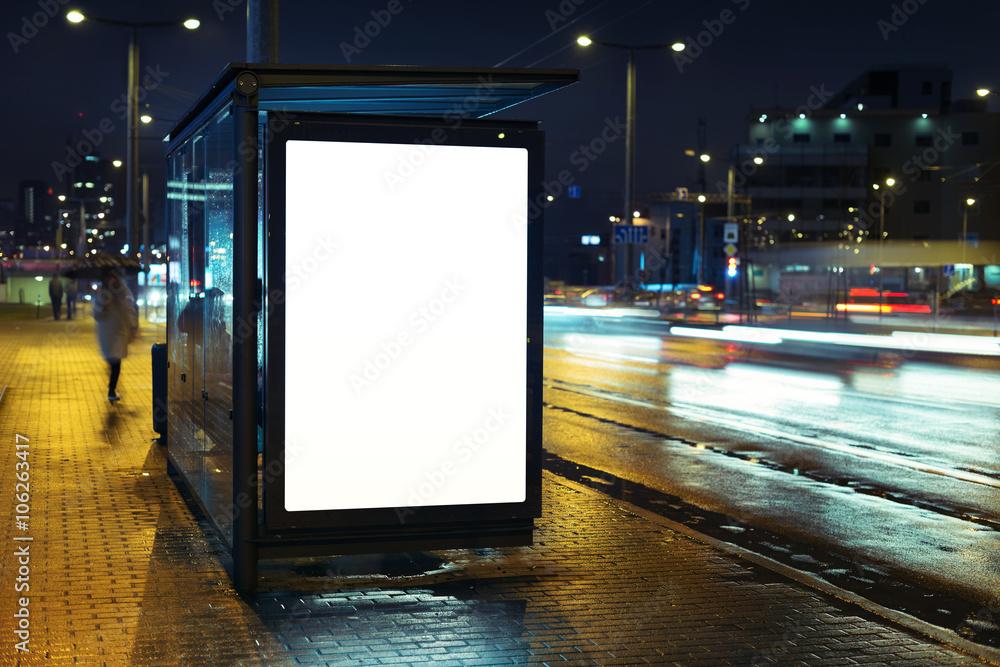 Fototapety, obrazy: Bus stop advertising billboard