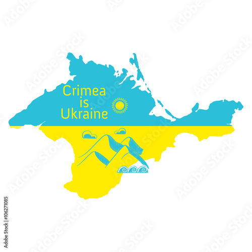 Crimea is Ukraine. Map of the Crimean peninsula with the flag of ...