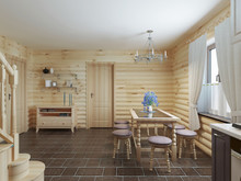 Dining Table And Chairs By The Window In The Interior Of A Log S