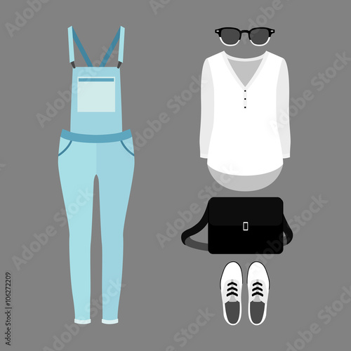 f3559d833d47 Set of trendy women s clothes with woman denim overall