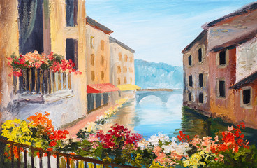 Panel Szklany Wenecja oil painting, canal in Venice, Italy, famous tourist place