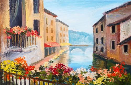 oil painting, canal in Venice, Italy, famous tourist place - 106286012