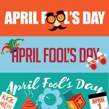April Fools Day Banner Set.