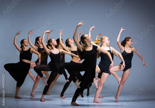 The group of modern ballet dancers  - 106290025