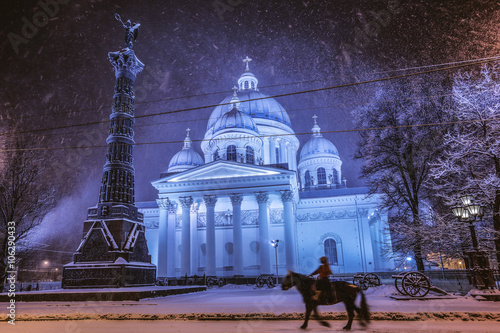 Printed kitchen splashbacks Eggplant Night snowfall in St. Petersburg, Russia (Tritity cathedral)