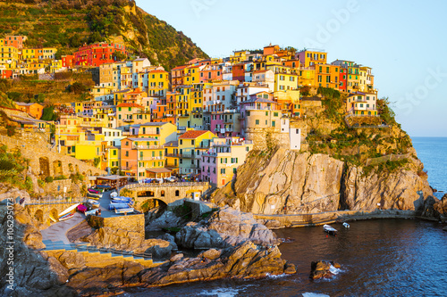 Εκτύπωση καμβά  Cinque Terre - Manarola village in summer