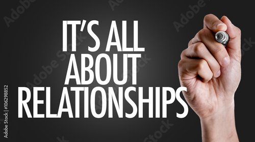Hand writing the text: Its All About Relationships Wallpaper Mural
