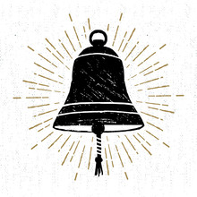 Hand Drawn Textured Icon With Ship's Bell Vector Illustration