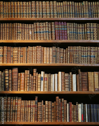 Poster Bibliotheque old books on wooden shelf.