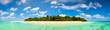 canvas print picture - Panorama of idyllic island and turquoise ocean water