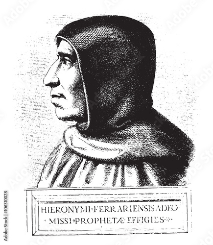Photo Girolamo Savonarola, after a painting of preserved at the conven