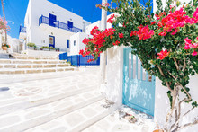White Cycladic Streets With Bo...