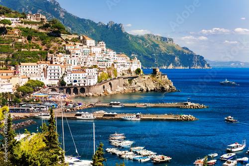 Tuinposter Napels Amalfi town on Mediterranean Sea, Naples, Italy