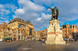 canvas print picture - The famous square Friday Market with Jacob van Artevelde statue in the sunny morning, Ghent, Belgium