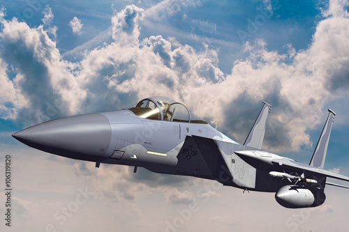Fototapeta F-15C Eagle 3D illustration model in flight obraz na płótnie