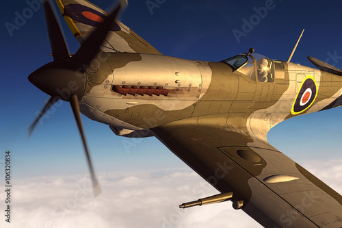 Fényképezés  Supermarine Spitfire 3D rendering