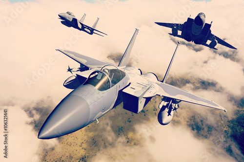 F-15C Eagle 3D rendering vintage effect Wallpaper Mural