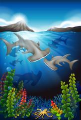 Fototapeta na wymiar Whale swimming under the sea