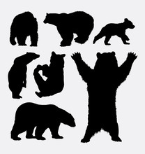 Bear Wild Animal Silhouette 2. Good Use For Symbol, Logo, Web Icon, Mascot, Sign, Sticker, Or Any Design You Want. Easy To Use.