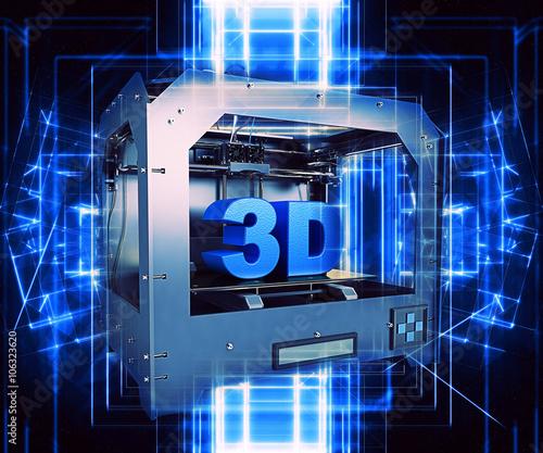 Fotografia  3d printer with futuristic effect