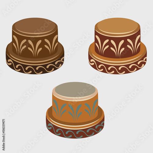 In de dag Art Studio African symbols reels, three vector icons
