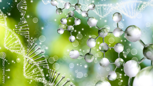 Fotografía  Image of molecular structure and chain of dna on a green background close-up