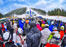 People Stand Before Ski Lift I...