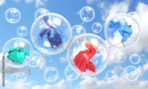 Fotografie, Obraz  things falling in soap bubbles concept of clean washing and fres