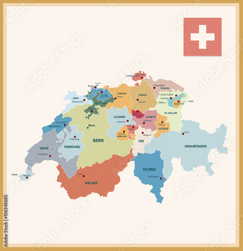 Vintage Color Political map of Switzerland Canvas Print
