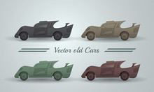 Vector Set Of Old Cars.