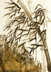 Fototapeta Orientalny bamboo trees and mountains