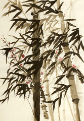 bamboo trees and plums branch