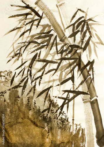 bamboo trees and mountains - 106362804