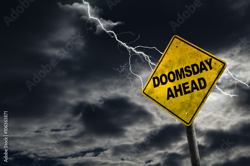 Doomsday Ahead Sign With Stormy Background Tablou Canvas