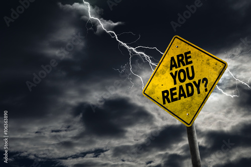 Are You Ready Sign With Stormy Background Wallpaper Mural