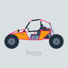 Off - Road Buggy 4x4 Illustration. Buggy Car On Gray Background. Buggy Dune Vector. Buggy Illustration. Buggy Car Isolated Vector