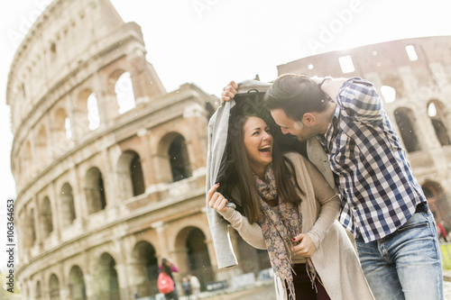 Couple in Rome Wallpaper Mural