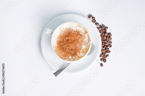 Fotografie, Obraz  Hot coffee with beans on BELM BACKGROUND WITH SPOON