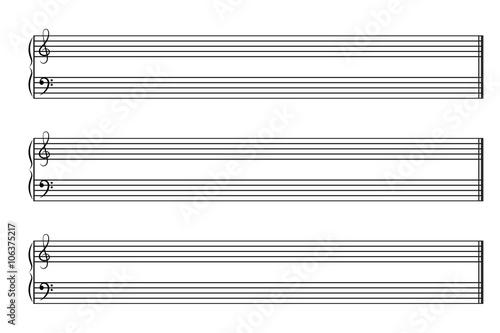 Fotografía  Sheet music books horizontal. Vector EPS10