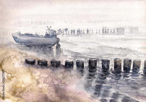 Łódź rybacka cumująca podczas mgły. Obraz utworzony za pomocą akwarel
