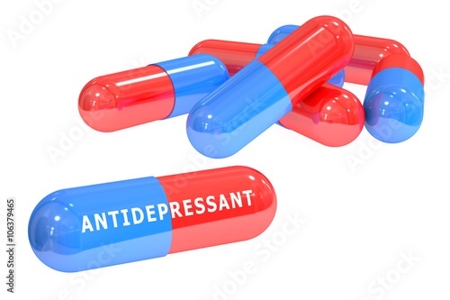 Photo antidepressant pills 3D rendering