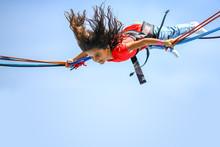 Girl Bungee Jumping Trampoline Top
