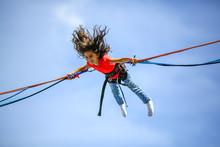Girl Bungee Jumping Trampoline
