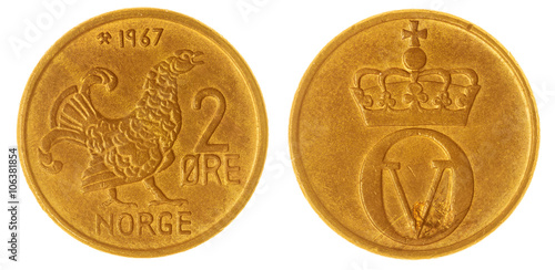 Poster  Bronze 2 ore 1967 coin isolated on white background, Norway