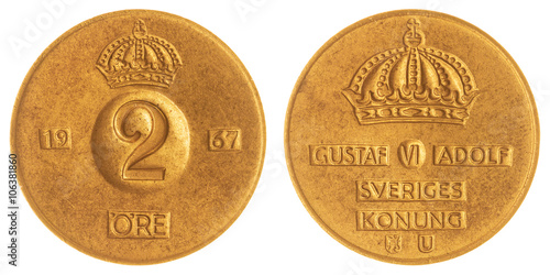 Fotografia  2 ore 1967 coin isolated on white background, Sweden