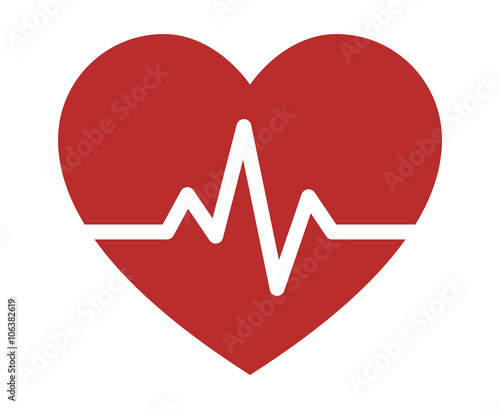 Valokuva  Heartbeat / heart beat pulse flat icon for medical apps and websites