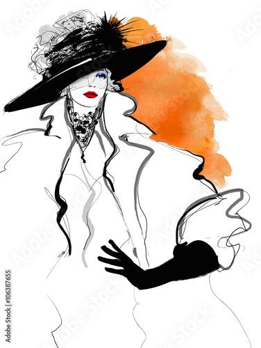 Photo sur Toile Art Studio Fashion woman model with a black hat