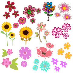 Watercolor flowers collection for different design .